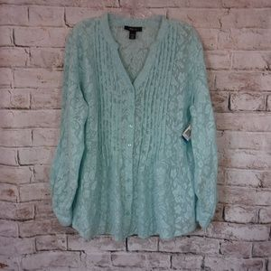 Style&Co Women XL Tunic Top Lace Crochet Blue G4